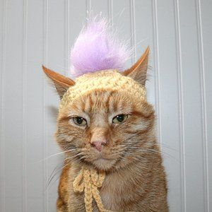 HAND CRAFTED Crochet Troll Hair Wig Dog Cat Hat
